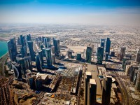Aerial view on Doha - capital of  Qatar.  Contemporary towers on Doha Corniche in November 2011.